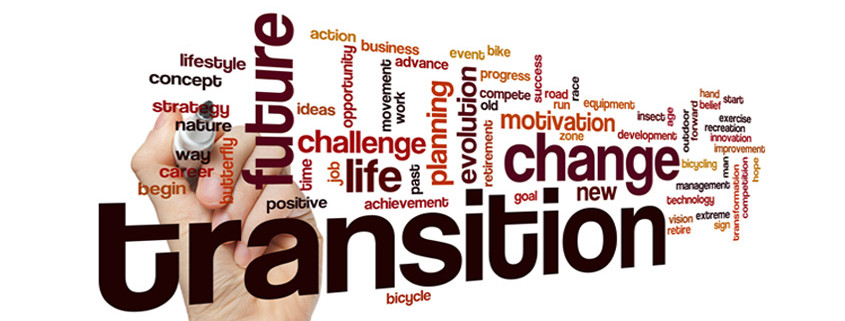 white background containing words such as transition, change, future, lifestyle, and more