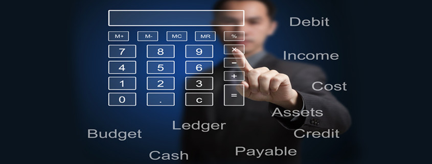 businessman pointing at a calculator and accounting concepts on touchscreen