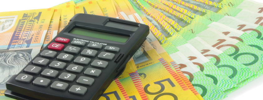 Australian dollar money and calculator
