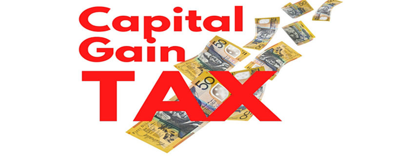 Capital Gain Tax text with Australian money dollar background